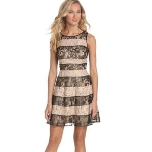 Jessica Simpson Black and Gold Lace Stripped Dress